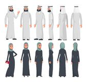 Muslim arab characters in flat style  on white background. Set of Arab man and women with different emotions and poses. stock illustration