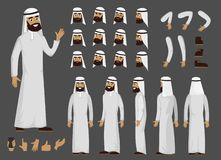 Muslim arab man creator character with different facial emotions and body view. Vector arab man character in flat style.  stock illustration