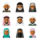Muslim arab people characters avatars icons set in flat style isolated on white background Royalty Free Stock Images