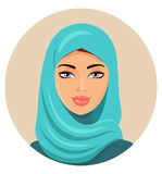Muslim arab woman in colored hijab. Arabian portrait. Vector Ill Royalty Free Stock Images