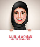 Muslim arab woman vector character holding blank white board Stock Photo