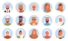Muslim arabian people portrait round avatars set, multinational man woman face userpics