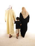 Muslim arabic family walking Stock Photos