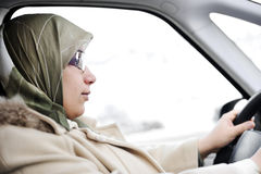 Muslim Arabic woman driving Royalty Free Stock Photo