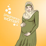 Muslim arabic woman pregnancy vector illustration Royalty Free Stock Photo