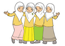 Muslim asian little girls friendship Royalty Free Stock Photos
