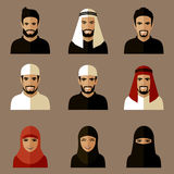 Muslim avatars. Set of flat muslim avatars, vector arab people icon,  saudi characters Stock Photos