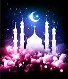 Muslim background. Ramadan night with mosque & moon Stock Photography