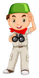 Muslim boy with binoculars Royalty Free Stock Photos