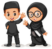Muslim boy and girl in black costume Stock Images