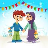 Muslim Boy and Girl Celebrating Ramadan. Vector Illustration of Muslim Boy and Girl Celebrating Ramadan vector illustration