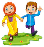 Muslim boy and girl Stock Photo