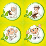 Muslim boy and girl praying Stock Images