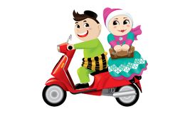 Muslim boy and girl riding on a motorbike together. Isolated.