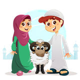 Muslim Boy and Girl with Sheep. Happy Feast Written in Arabic, Traditional Eid Concept Stock Photos