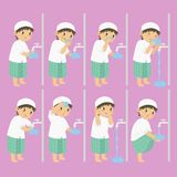 Muslim Boy Perform Ablution Steps Vector Collection. Muslim boy perform ablution steps, to clean self before prayer or shalat. Ablution steps for children vector vector illustration