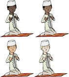 Muslim Boy Praying. A cartoon of a young Muslim boy with fez making a supplication while sitting on a praying rug. Includes 4 versions in different skin and hair Royalty Free Stock Photography