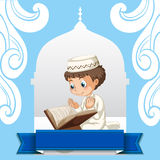 Muslim boy praying at the church Royalty Free Stock Photos