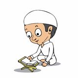 Muslim boy read Koran cartoon Stock Image