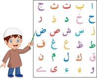 Muslim boy teaching arabic alphabet. Illustration of Muslim boy teaching arabic alphabet royalty free illustration