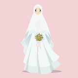 Muslim bride cartoon illustration. Muslim bride with long veil cartoon illustration stock illustration