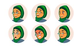 Muslim Business Woman Avatar Vector. Woman Face, Emotions Set. Hijab. Muslim Female Creative Placeholder. Modern Girl. Isolated Illustration Royalty Free Stock Photo