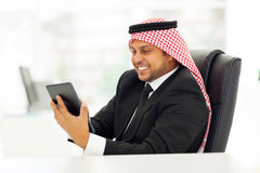 Muslim businessman tablet Royalty Free Stock Photo