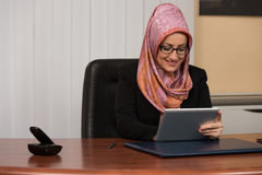 Muslim Businesswoman With Her Touch Pad Stock Images