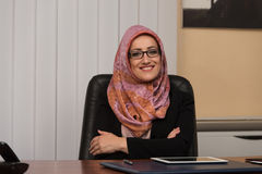 Muslim Businesswoman In The Office Stock Image