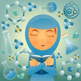 Muslim cartoon student girl with book. Stock Photography
