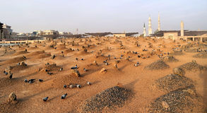 Muslim cemetary at Nabawi Mosque in Madinah. Stock Photo