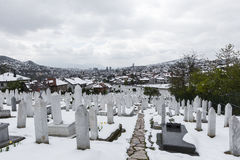 A muslim cemetery in a beautiful winter day in Sarajevo, Bosnia Stock Photography