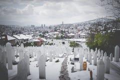 A muslim cemetery in a beautiful winter day in Sarajevo, Bosnia Stock Photos