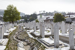 A muslim cemetery in a beautiful winter day in Sarajevo, Bosnia Stock Photo