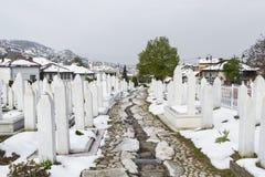 A muslim cemetery in a beautiful winter day in Sarajevo, Bosnia Stock Image