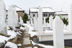 A muslim cemetery in a beautiful winter day in Sarajevo, Bosnia Stock Images