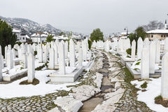A muslim cemetery in a beautiful winter day in Sarajevo, Bosnia Royalty Free Stock Image