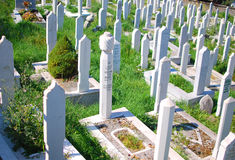 Muslim cemetery in Sarajevo, Bosnia. Muslim graveyard in Sarajevo, Bosnia Stock Photo
