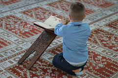 Muslim child reading Koran. Muslim child pray in mosque royalty free stock images