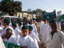 Muslim children in Africa. Muslim kids in a roadside peaceful demonstration in Nairobi Kenya Stock Photos
