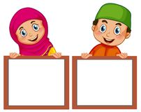 Muslim children and empty board. Illustration vector illustration