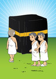 Muslim children learning manasik hajj. Muslim little kids with big drum in the mosque Stock Photography
