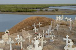 Muslim and Christian graveyard in Joal-Fadiouth, Petite Côte, Senegal. Joal-Fadiouth is a town in the Thiès Region at the southern end of the Petite Côte of Royalty Free Stock Images