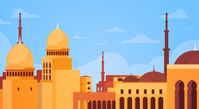 Muslim Cityscape Nabawi Mosque Building Religion. Flat Vector Illustration Stock Photography
