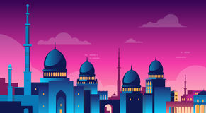 Muslim Cityscape Nabawi Mosque Building Religion Night View. Flat Vector Illustration vector illustration