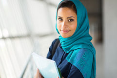 Muslim college student. Portrait of pretty muslim college student Stock Photo