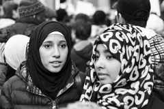 Muslim Community demonstrating against terrorism in Milan, Italy. MILAN, ITALY - NOVEMBER 21: The Muslim Community demonstrates against every kind of terrorism Royalty Free Stock Photos
