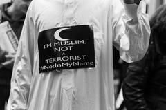 Muslim Community demonstrating against terrorism in Milan, Italy Royalty Free Stock Photos