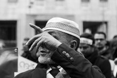 Muslim Community demonstrating against terrorism in Milan, Italy Stock Images