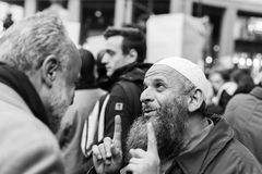 Muslim Community demonstrating against terrorism in Milan, Italy Stock Photo